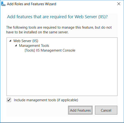 Web Server tool add-on confirmation dialog