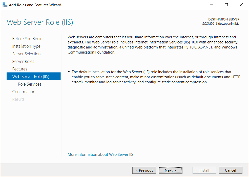 Add Roles and Features Wizard Web Server Role (IIS) screen