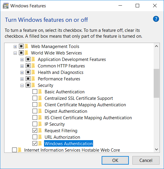Windows Features dialog with Windows Authentication feature selected