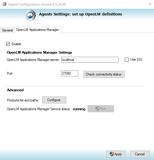 The Applications Manager tab in OpenLM Agent.