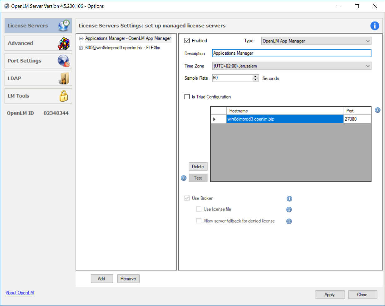An Applications Manager configured with the OpenLM Server Configuration Tool