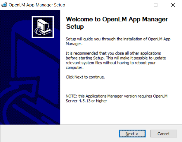 The Applications Manager Setup wizard.