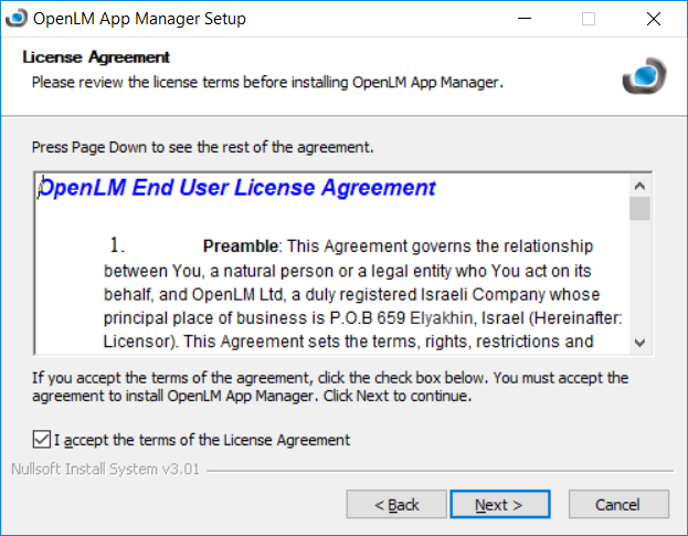 The License Agreement screen.