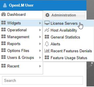 Selecting the License Server window in OpenLM's EasyAdmin