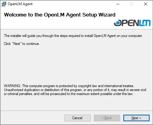 The OpenLM Agent Installation Wizard