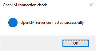 The connection success dialog