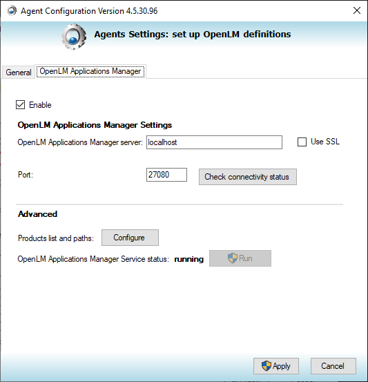 The Agent's Applications Manager configuration tab.
