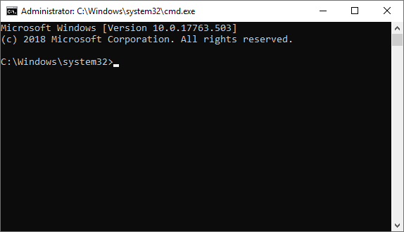 A command prompt with administrative privileges.