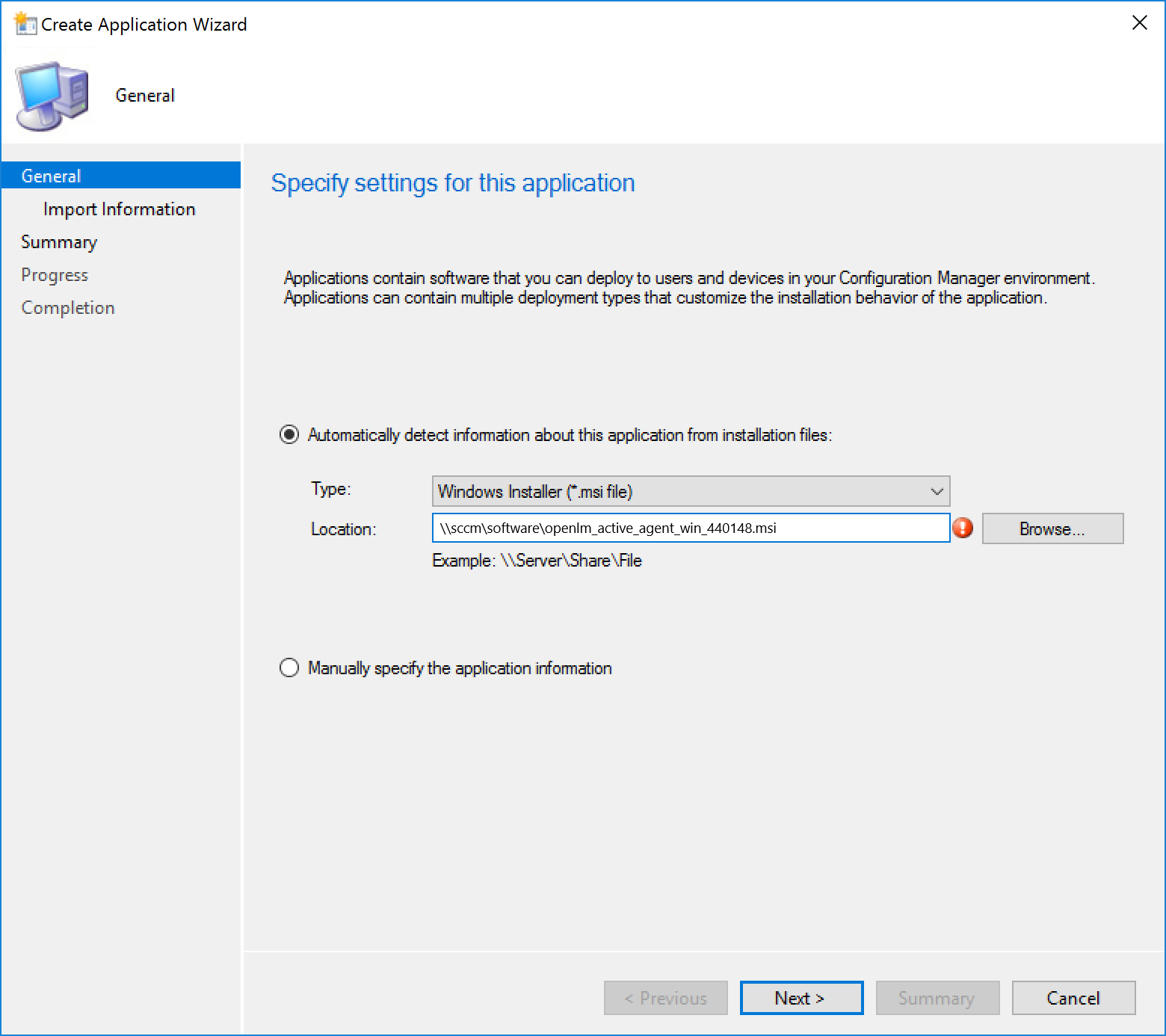 "The ""Create Application Wizard"" displaying the General panel"