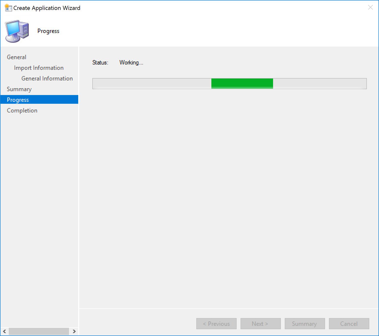 "The ""Create Application Wizard"" progress screen."
