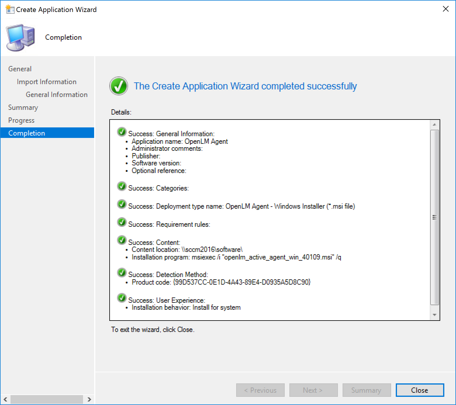 "The ""Create Application Wizard"" success screen"