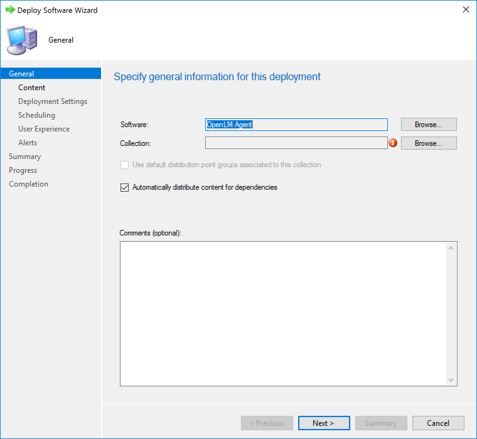 """The """"Specify general information for this deployment"""" screen."""