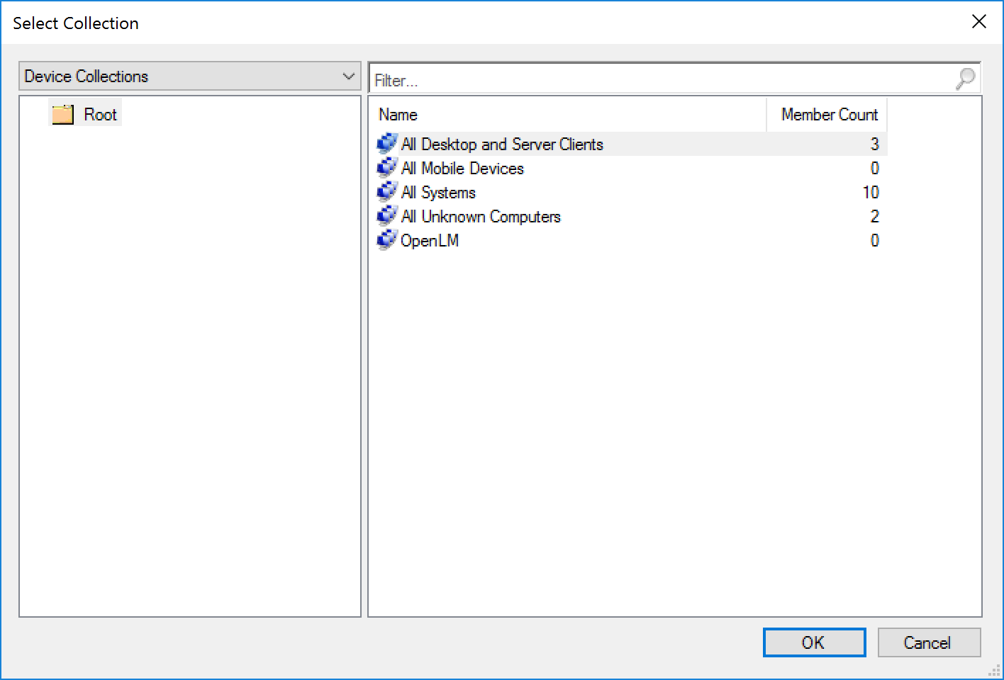"""""""Device Collections"""" window on the Select Collection screen."""