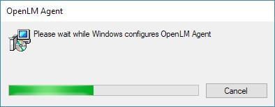 The OpenLM Agent uninstall progress window.