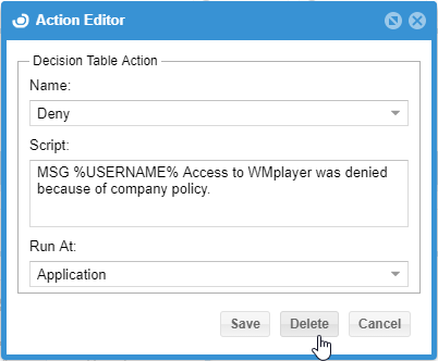Action Editor window with Delete button