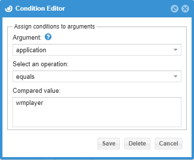 Condition Editor open for editing