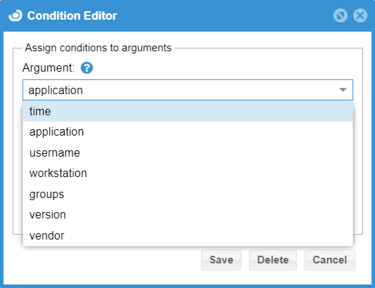 Condition Editor window with argument list
