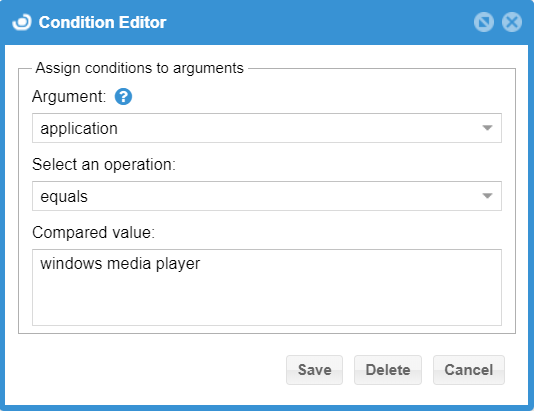 Condition Editor with an application rule