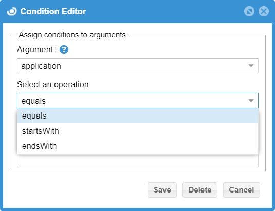Condition Editor with operations list