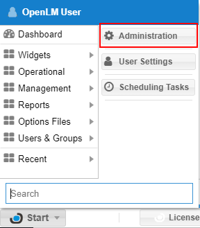 OpenLM Applications Manager configuration through the EA administration window