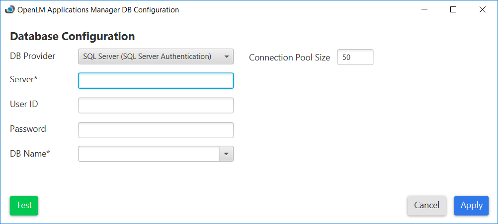 Applications Manager Database Configuration tool using SQL Server with standard authentication