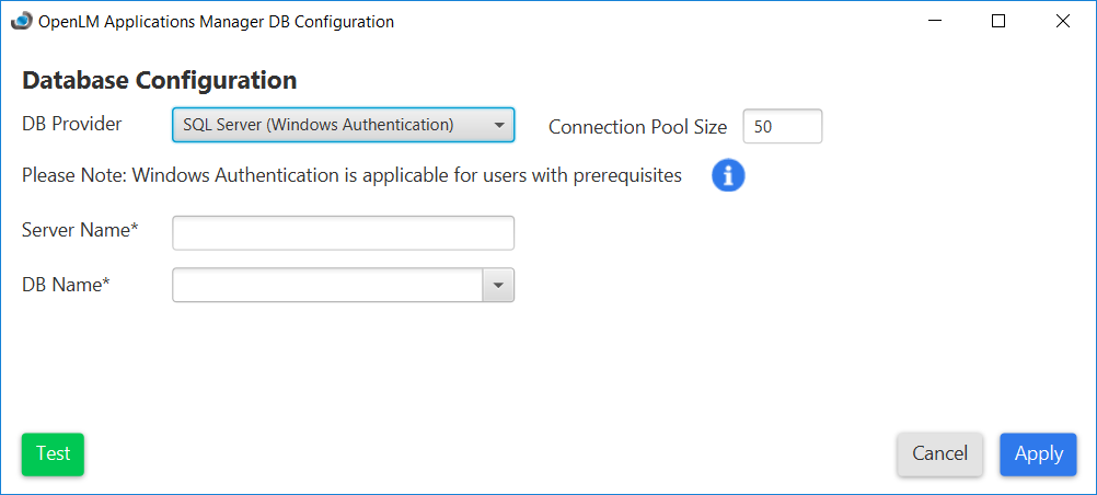 Using Applications Manager Database Configuration tool with SQL Server and Windows Auth