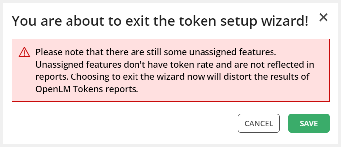 Token Wizard warning screen