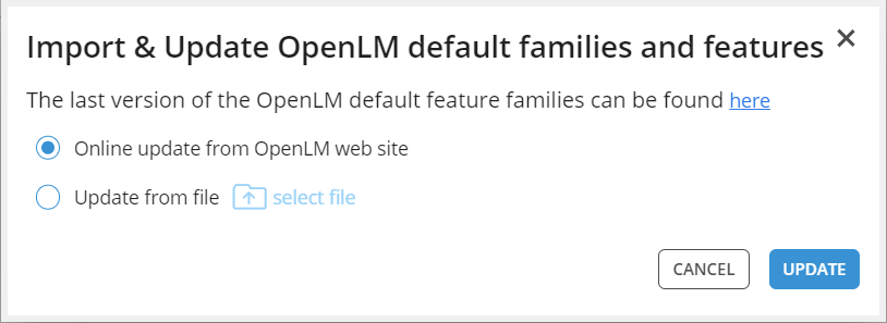 OpenLM default features and families import tab with options