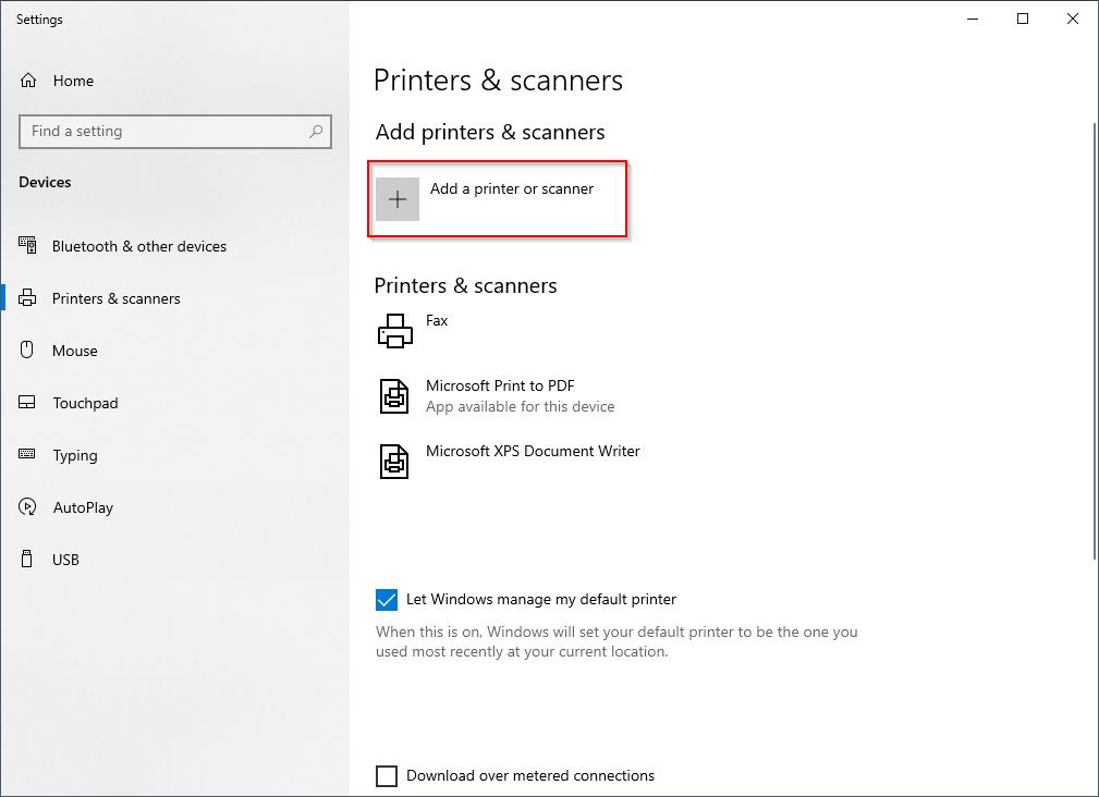 Add printer or scanner button