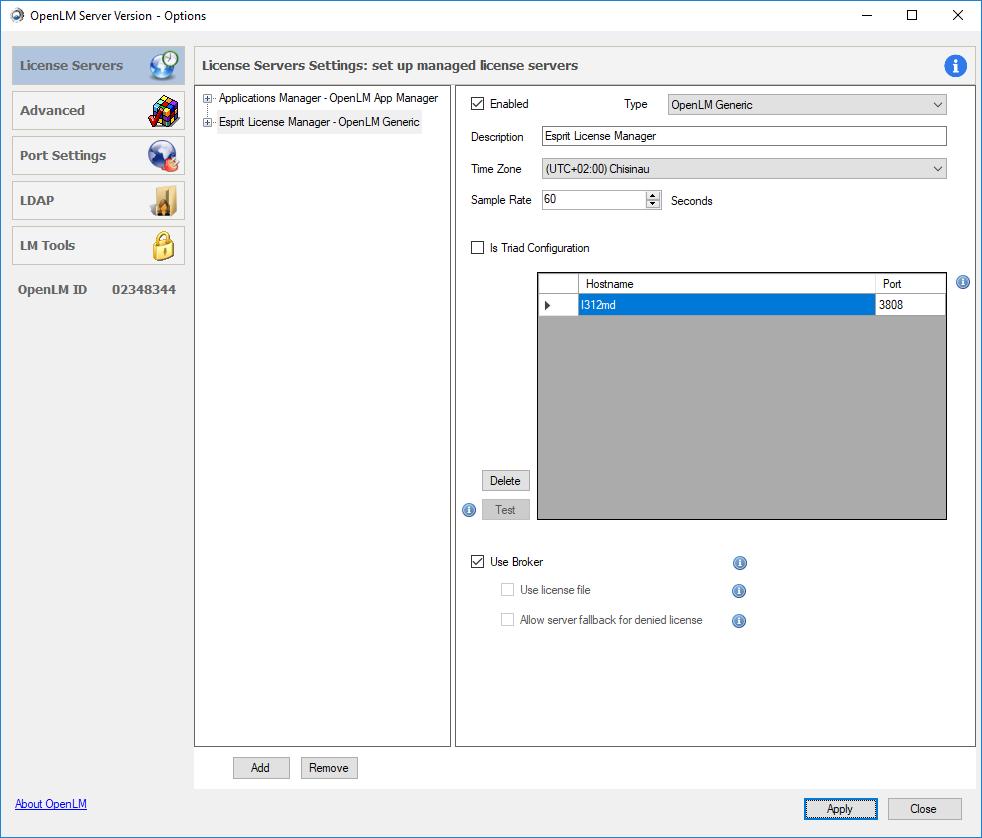 ESPRIT license server in the OpenLM Server configuration tool