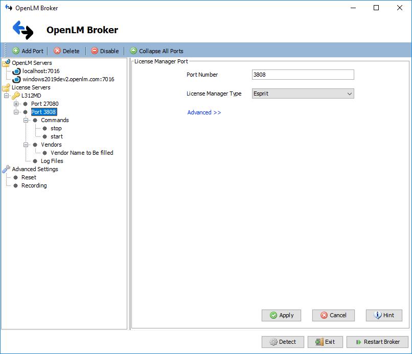 OpenLM Broker ESPRIT License Manager Configuration Settings