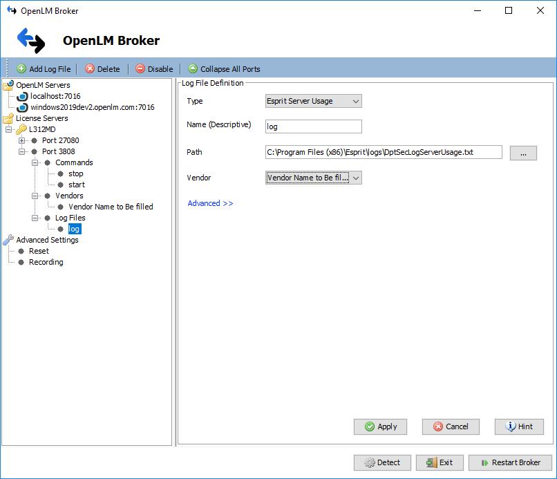 OpenLM Broker ESPRIT License Manager Log File Configuration
