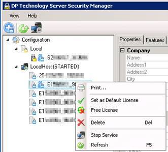 Print the license output from ESPRIT DP Technology Server