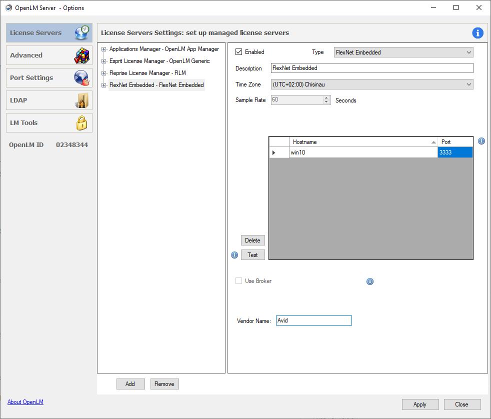 OpenLM Server Configuration Tool settings for Flexnet Embedded server
