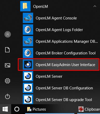 Opening EasyAdmin through Windows Start