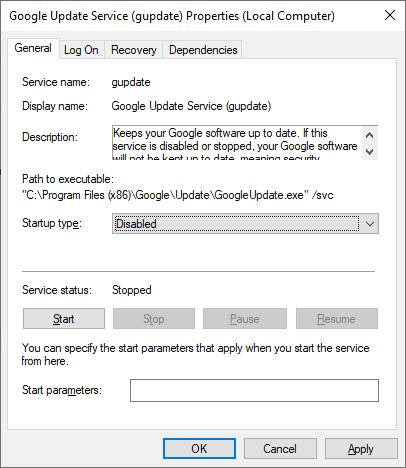 Disabling startup for Google Chrome Update