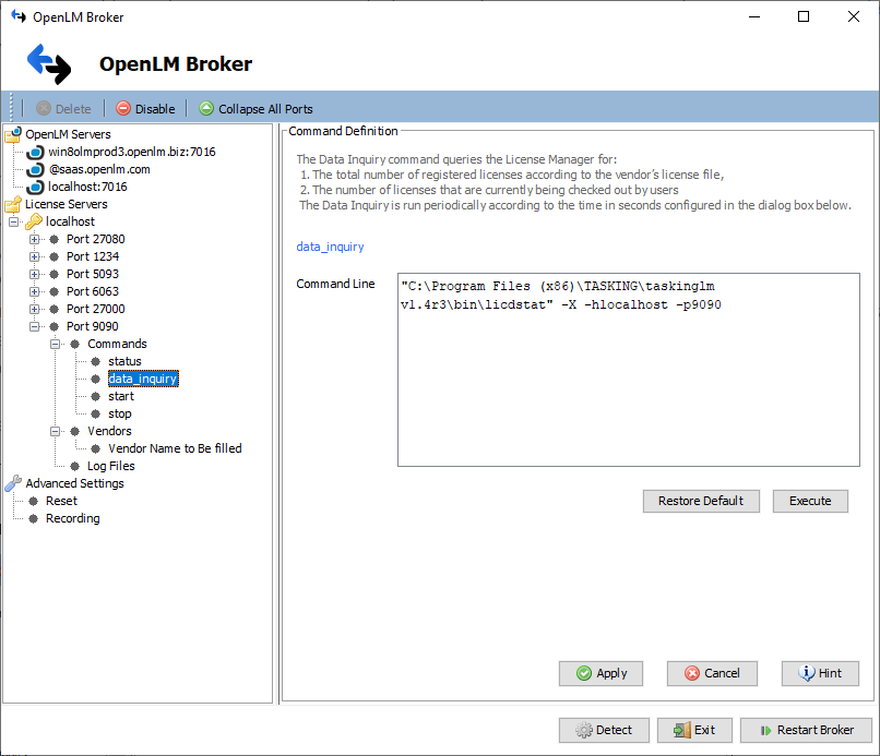 TASKING License Manager OpenLM Broker config