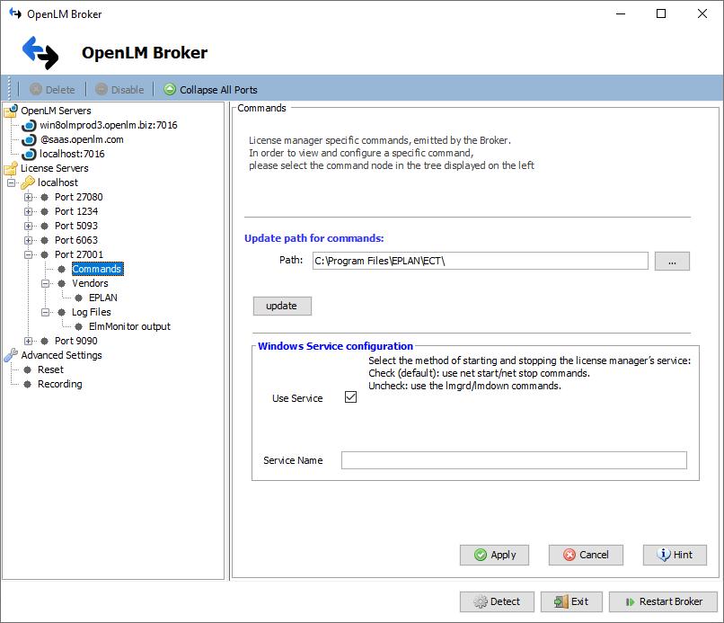 OpenLM Broker settings for EPLAN