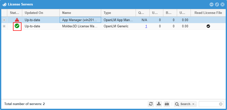Moldex3D License Manager in EasyAdmin's License Servers window