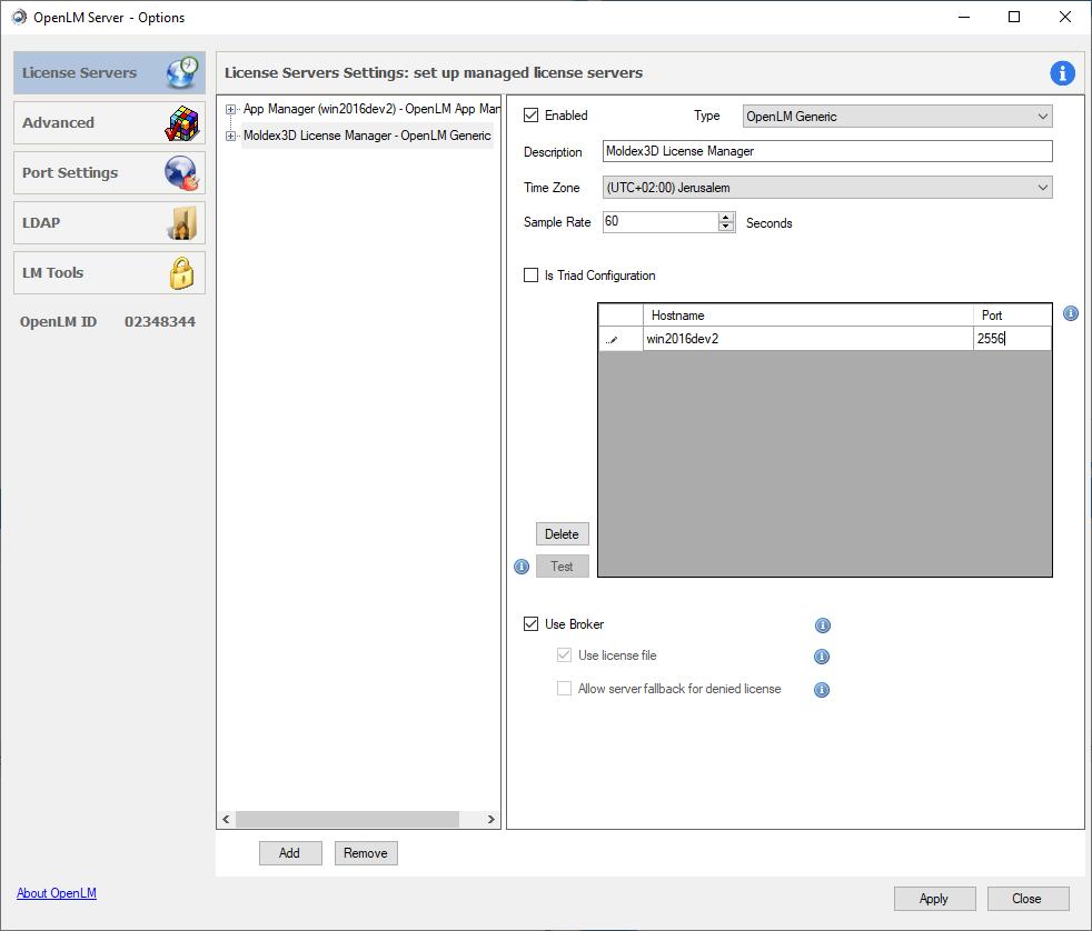 Moldex3D LM settings in OpenLM Server configuration tool