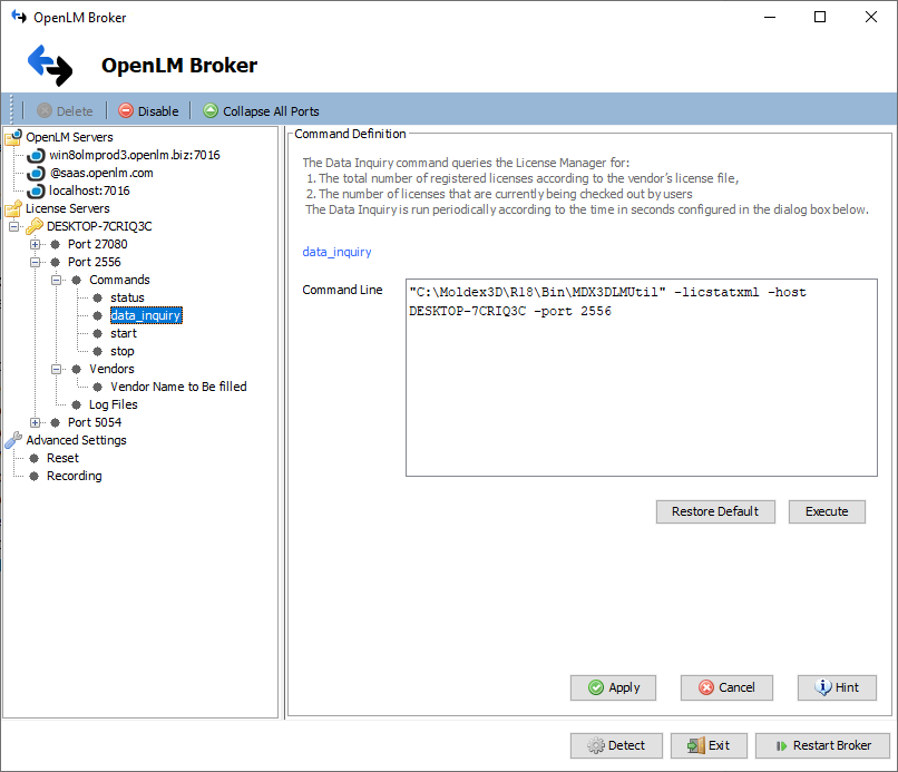 OpenLM Broker configuration for Moldex3D License Manager