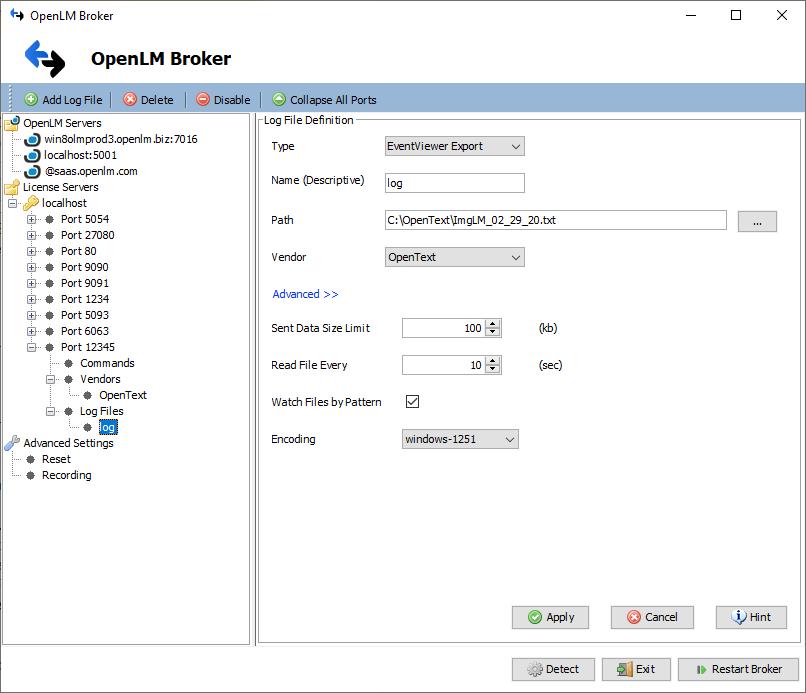 OpenLM Broker Log Config for OpenText