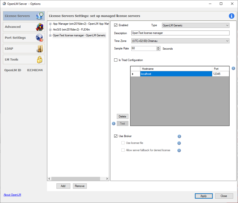 OpenLM Server configuration for the OpenText license manager
