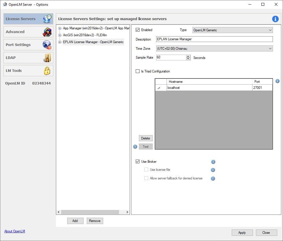 EPLAN OpenLM Server configuration settings