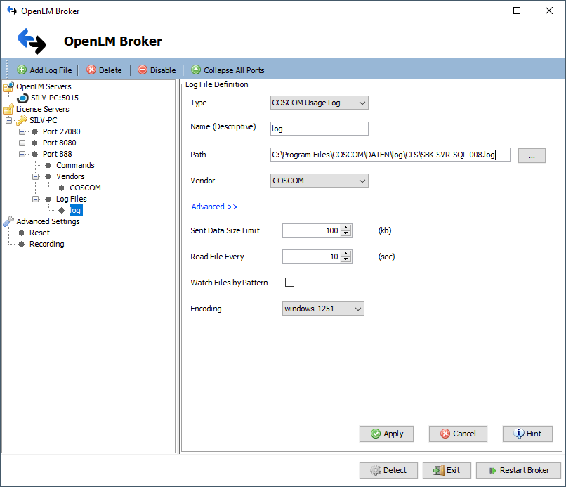 OpenLM Broker settings for COSCOM LicenseMonitor