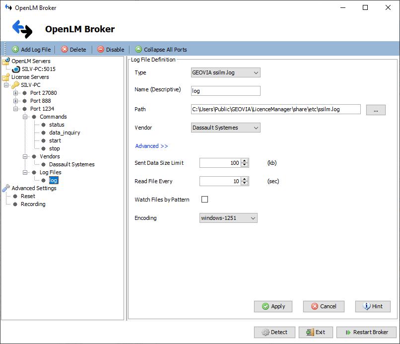 OpenLM Broker settings for GEOVIA License Manager