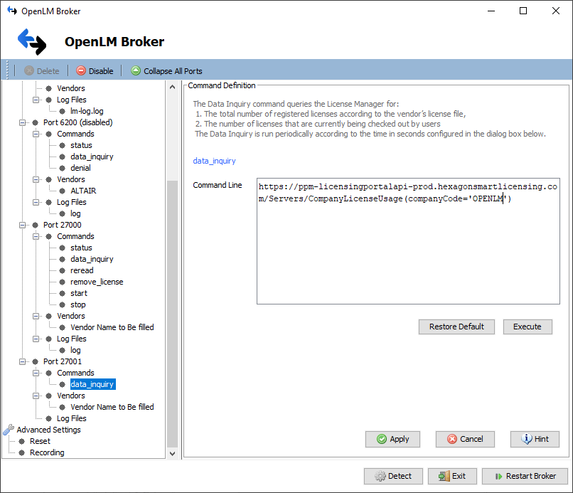 OpenLM Broker settings for Intergraph Smart Licensing Cloud