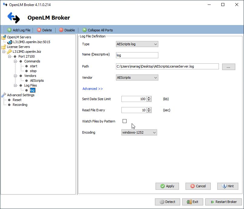OpenLM Broker Log file upload