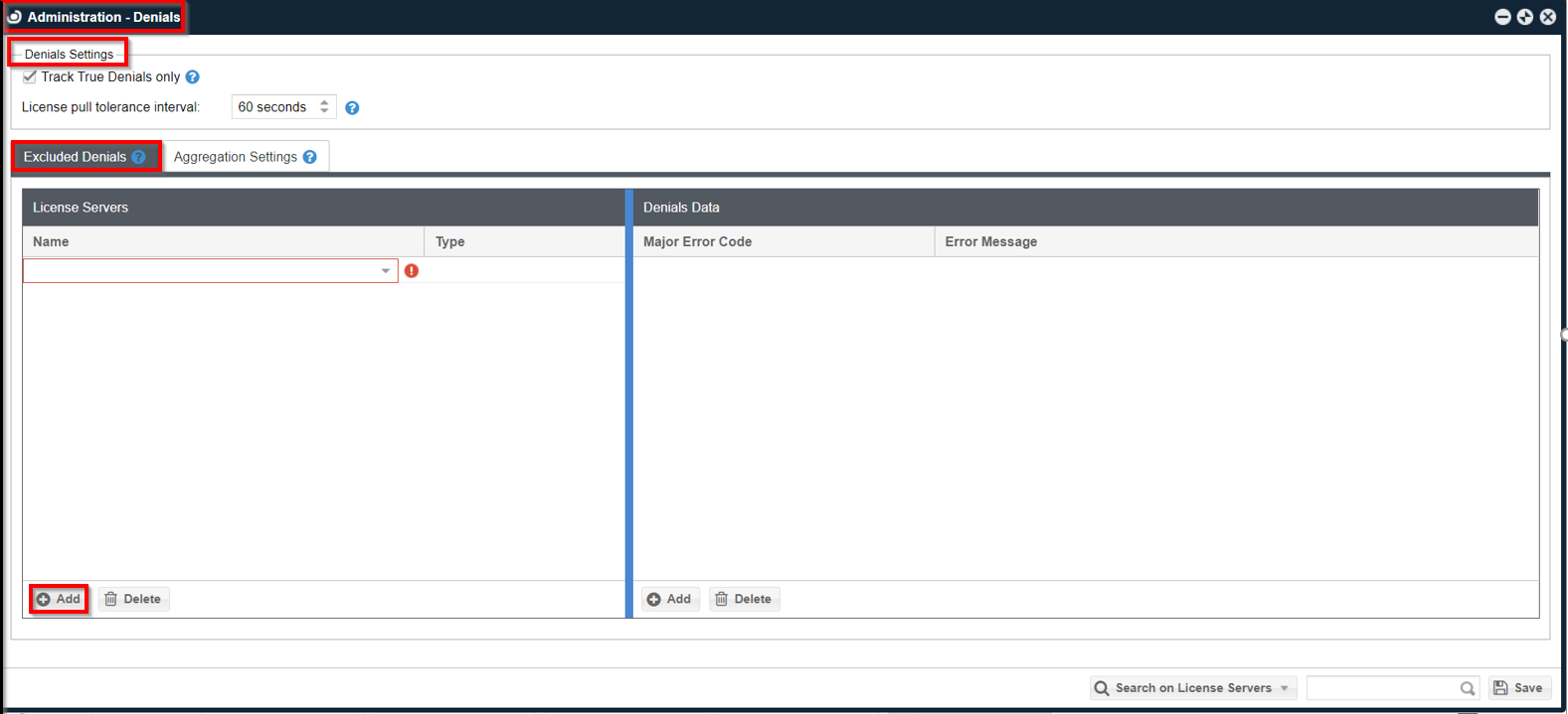 A row inserted into the License Servers Panel using Add button