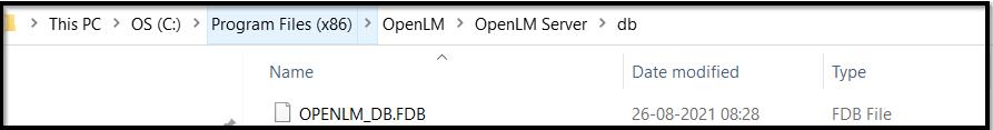 DB file stored under the server installation folder